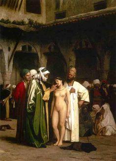 Jean-Léon Gérôme ( Fench Painter, 1824 – 1904)  –  The Slave Market 1866