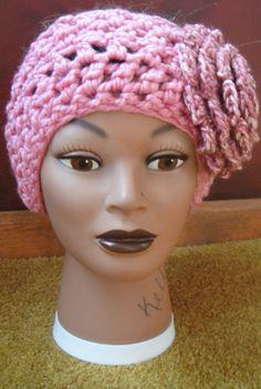 winter headwrap  pink with oversized pink flower by adamkhloe, $15.00