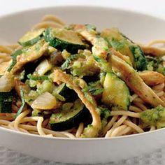 Recept - Spaghetti met courgette-muntsaus en kip - Allerhande
