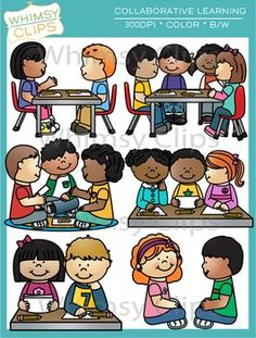 The Collaborative Learning clip art set focuses on kids working together in groups to learn and solve problems. This set contains 6 illustrations in both color and black & white for a total of 12 image files. All images are 300dpi for better scaling and printing.