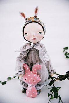 lucia comes to visit papier mache mouse dolls by miss sophie_7