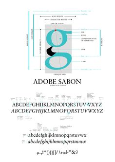 Sabon - Anatomy and type illustration by Ramsha Qamar, via Behance