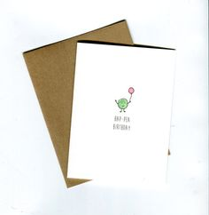 Funny birthday card. A tiny pea carrying a birthday ballon HAP-PEA BIRTHDAY ♥ Original illustration hand lettered using ink and printed on More