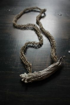 Necklace | TrivialityLab on Etsy. Natural driftwood and linen.