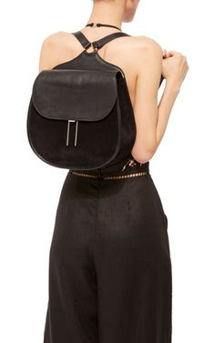 This Hayward Vallens Backpack Is Rendered In Leather And Suede Features