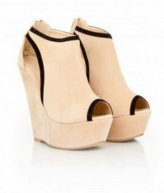Herai Cut Out Peep Toe Wedges In Nude