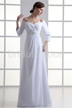 White Off-the-shoulder Floor-length Chiffon Side-zipper Wedding Dresses