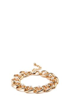 Faux Pearl Chain Bracelet | FOREVER21 - 1000121672