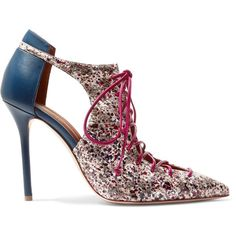 Malone Souliers Montana cutout leather and elaphe pumps ($920) ❤ liked on Polyvore featuring shoes, pumps, leather pumps, metallic shoes, multi-color pumps, colorful shoes and lace up high heel shoes