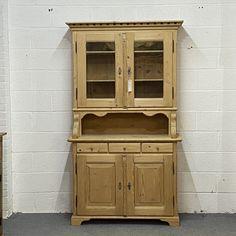 Tall French Antique Pine Partly Glazed Dresser (F6002E)