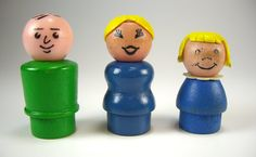 Vintage Fisher Price Little People. I had these!  And the orange boy with the frying pan hat...