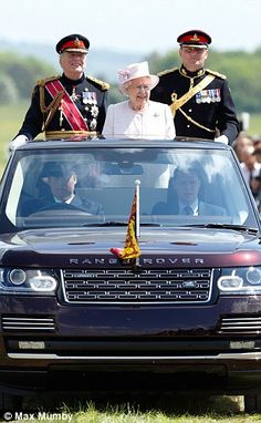The Queen In Her State Review Range Rover With Royal Regiment Of Artillery May