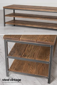 Contemporary meets vintage. A minimalist design inspired by vintage industrial storage shelving found in old warehouses. The steel frame is constructed from 25x25mm hollow tube with a 3mm wall thickness. The wooden top and shelves are 25mm thick. Plastic feet provide protection for floors.