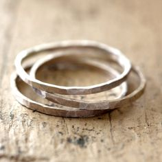 Hammered Stacking Rings Sterling Silver - Praxis Jewelry