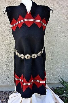 Xlnt! Navajo BEALE TRADITIONAL DOUBLE PANEL RUG DRESS Cleaned & Moth Proofed!