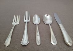 Vintage Mismatched Flatware,Five (5) Piece Place Setting,Antique Silver Plate,Silverware,Mixed Patterns,Wedding,Tea Party,Rediscovered by ViaLuciaVintage on Etsy