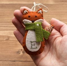 Personalized Red Fox Christmas Ornament, Felt Fox, New Baby, Baby's First Christmas, Girl, Boy, Winter, Customized Gift, FREE Gift Wrapping by GreyFoxFelting on Etsy https://www.etsy.com/listing/254216075/personalized-red-fox-christmas-ornament