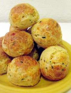 Gougeres, a.k.a. French cheese puffs. Make with gruyere or cheddar cheese. Either way, they're delicious.