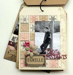"Mini album ""Une famille en hiver"" ... - Le Scrap de Patmiaou Christmas Mini Albums, Christmas Scrapbook, Christmas Minis, Mini Album Scrapbook, Mini Albums Scrap, Chipboard Crafts, Paper Crafts, Card Making Designs, Album Book"