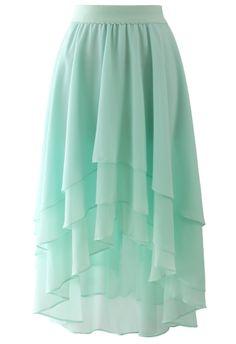 Macaron Mint Asymmetric Waterfall Skirt   Chicwish $46.76 AUD