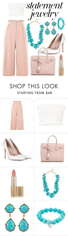 """""""#PolyPresents: Statement Jewelry"""" by lelevin ❤ liked on Polyvore featuring Topshop, Gianvito Rossi, Yves Saint Laurent, L'Oréal Paris, BaubleBar, Sylvia Toledano, Anzie, contestentry and polyPresents"""