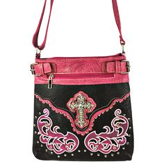 Shop for hot pink messenger bag online visit @ http://www.ladyvoguefashion.com/hot-pink-studded-rhinestone-cross-with-patchwork-look-messenger-bag-mb1-w46crhpk/