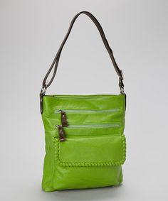Take a look at this Apple Green Zipper Crossbody Bag by Punto Uno on #zulily today!