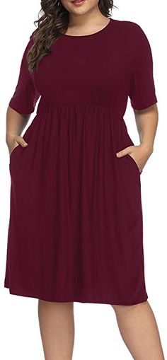 d086aa7215c Allegrace Women Plus Size Half Sleeve Round Neck Cocktail Midi Dress Ruffle  Party Dresses Wine Red 2X at Amazon Women s Clothing store