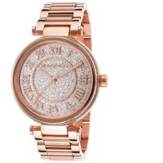 Michael Kors Skylar Rose Gold Watch Authentic Michael Kors watch (MK5868) from the Skylar collection. Rose Gold-tone stainless steel bracelet. Round case, 42mm, clear glitz at outside case. Glitz dial with rose gold-tone Roman numerals, two hands, subdial at six o'clock and logo. Quartz movement and water resistant to 50 meters. In excellent condition!Some minor but barely visible wear on band. Comes with original box! Michael Kors Accessories Watches