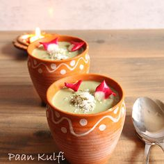 Paan Kulfi  10 betel leaves (paan) 1 ltr full cream milk 400 gms sugar 100 ml full cream 2 tbsp  corn flour 1 tbsp milk powder 6 cardamoms crushed 2 tbsp gulkhand  Or 4 fresh red rose petals 1 tbsp fennel seed ½ t/s nutmeg powder 2 tbsp crushed 1 tbsp rose water a pinch of salt For garnishing: 1 tbsp fennel seed desiccated coconut rose petals rose syrup