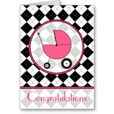 Black and White Argyle Baby Congratulations Card