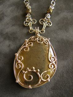 Pyrite Stone Silver Wire Filigree Wrapped Pendant