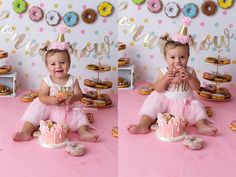Charlotte is One 1st Birthday Photoshoot, 2nd Birthday Party Themes, Donut Birthday Parties, Donut Party, Birthday Ideas, Birthday Girl Pictures, First Birthday Photos, Baby Girl First Birthday, 1st Birthdays