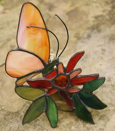 Butterfly on Passion Flower Stained Glass Suncatcher @Kelly