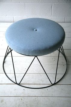 Blue Cream and Chrome Stool. Would love to find a thrifted piece like this!