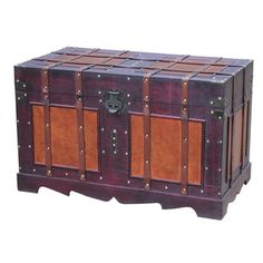 Antique Style Steamer Trunk - 17979149 - Overstock - Big Discounts on Decorative Trunks - Mobile