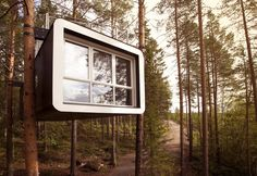 The Treehotel, comprised of five whimsical tree houses suspended high in a pine forest, is set atop the edge of Sweden's isolated Lule River Valley, 36 miles south of the Arctic Circle.