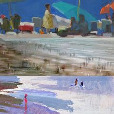 """Figures in the landscape. Details from Anne Ward Bill Dewey and Marcia Burtt paintings and photograph in our """"Summer in Winter"""" exhibit. On view thru March 12. #pleinair #goletabeach #landscapepaintings #losangelesbeaches #delmar #landscapephotography"""