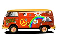 eef4ba23d0 XOO Plate    Too Cool Red Hippie Van Vector Graphic - Cool red hippie van  or flower bus with peace and love elements - great vector graphic in eps.