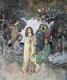 """""""The Fairy of the Garden"""" by Edmund Dulac - Illustration for Hans Christian Anderson's """"The Garden of Paradise"""""""