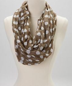 Love this Olive & White Polka Dot Infinity Scarf on #zulily! #zulilyfinds