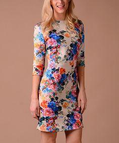 This Beige & Pink Floral Sheath Dress is perfect! #zulilyfinds