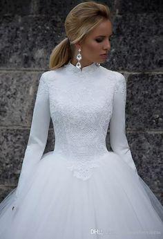 long-sleeve, high-neck wedding dress #tznius #modest