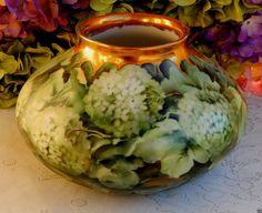 Stunning Antique Limoges Porcelain Hand Painted Vase ~ Signed ~ Hydrangea ~ Gold #Limoges