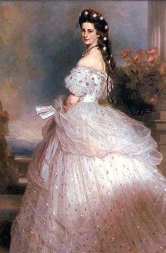Empress Elisabeth of Austria in gown by Worth, covered with diamond stars, c.1865.