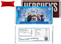 Frozen Movie Birthday Candy Bar Wrappers