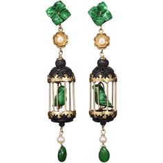Of Rare Origin Aviary Classic Earrings - Black & Green found on Polyvore featuring jewelry, earrings, kirna zabete, green earrings, pearl earrings, pearl flower earrings, pearl jewelry and horn jewelry