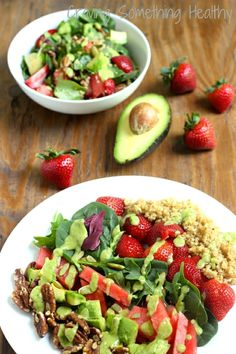 Seasonal fruits, greens, quinoa and a delicious creamy avocado dressing. California Power Salad|Craving Something Healthy