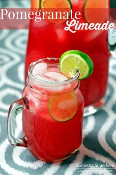 Pomegranate Limeade - I love this mocktail recipe and the fact that you can add your favorite alcohol if you want, too!