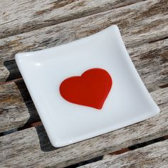 Red Heart Jewelry Holder - Fused Glass Trinket Dish by FirstLightGlass